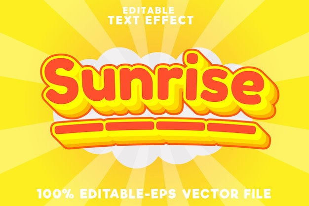 Editable text effect sunrise with modern simple style