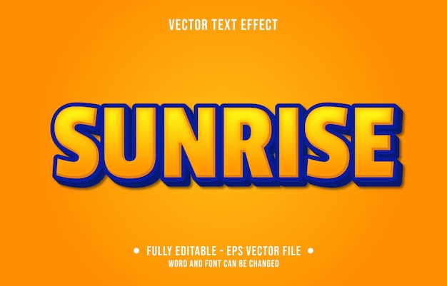 Editable text effect sunrise yellow modern style