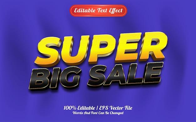 Редактируемый текстовый эффект супер большая распродажа в стиле шаблона