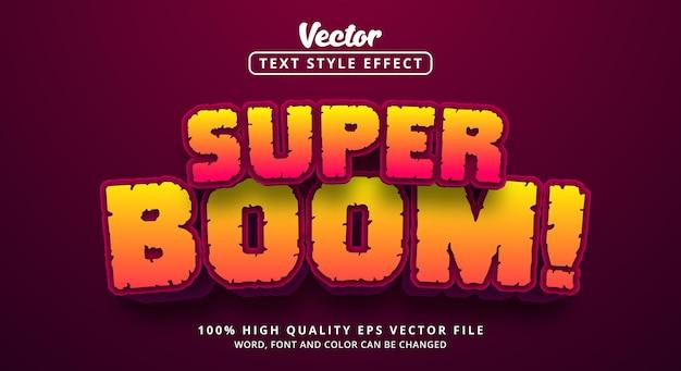 편집 가능한 텍스트 효과, 빨간색 및 노란색 색상 스타일의 super boom 텍스트