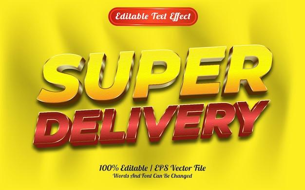 Редактируемый текстовый эффект супер стиль шаблона доставки