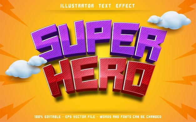Editable text effect, super hero 3d style illustrations