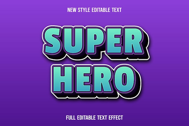 Editable text effect super hero color blue and purple