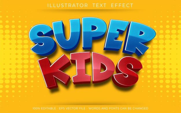Editable text effect, super kids 3d style illustrations