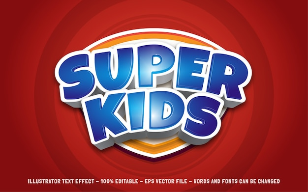 Editable text effect, super kids style illustrations