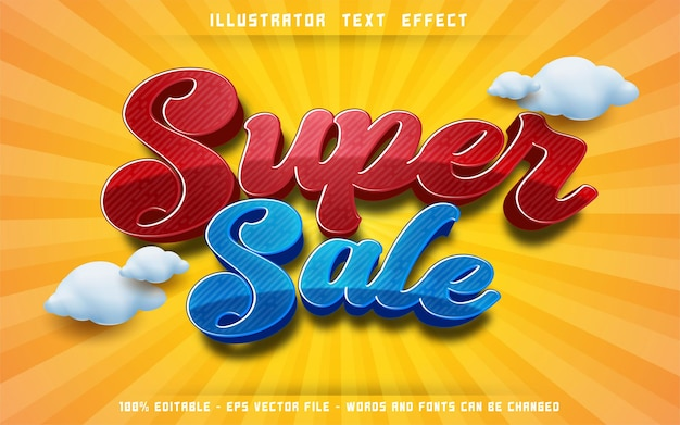 Editable text effect, super sale 3d style illustrations