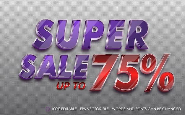 Editable text effect, super sale 75% style illustrations