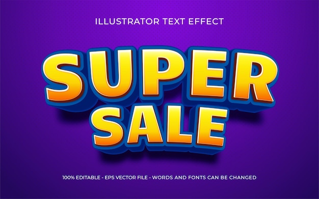 Editable text effect, super sale style illustrations