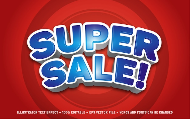 Editable text effect super sale style illustrations