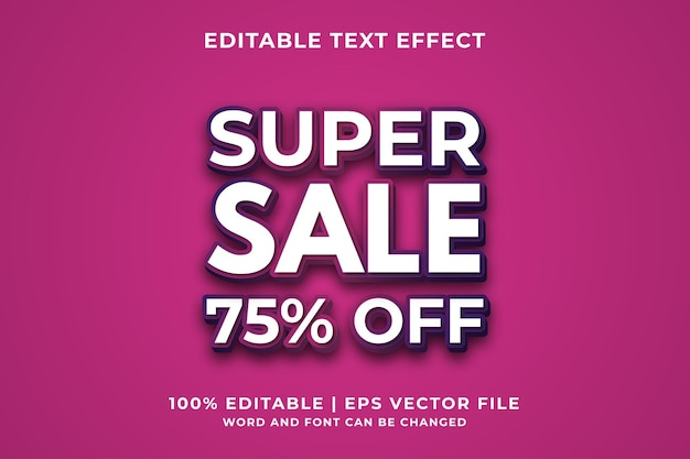 Editable text effect - super sale style template premium vector