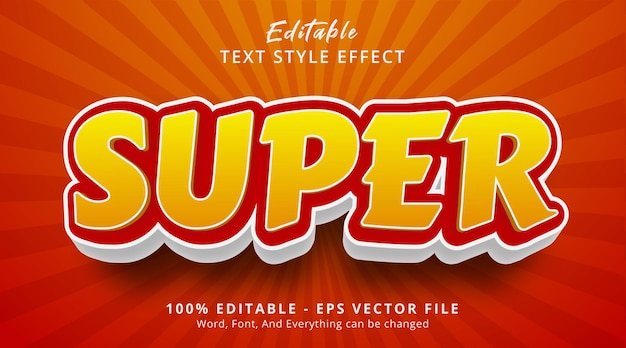 Editable text effect, super text on headline event fancy style