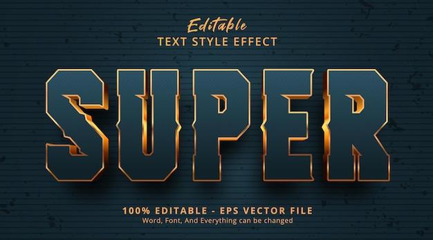 Редактируемый текстовый эффект, супер-текст в стиле черного и золотого цвета