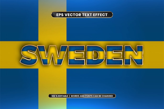 Editable text effect - sweden with its national country flag