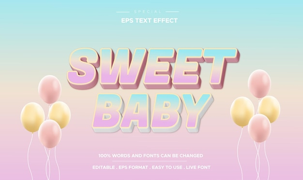 Editable text effect sweet baby style