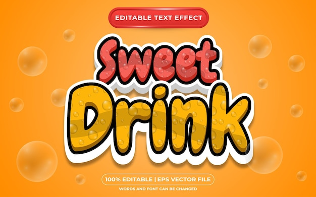 Editable text effect sweet drink template style