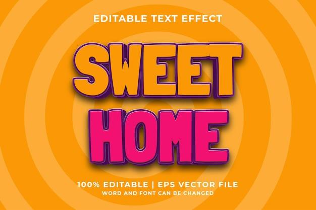편집 가능한 텍스트 효과 - 스위트 홈 귀여운 3d 템플릿 스타일 프리미엄 벡터