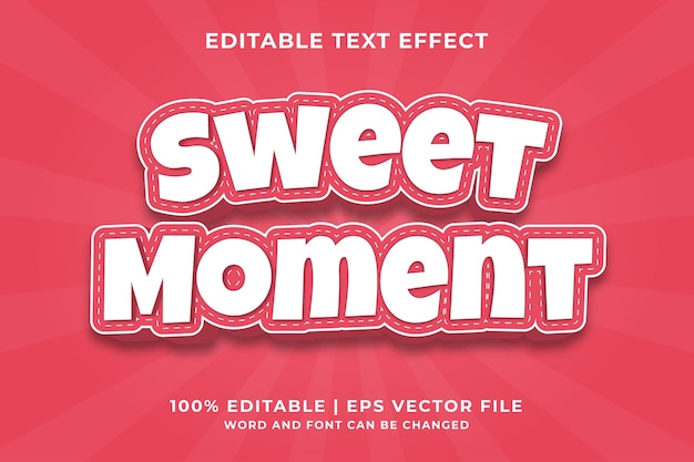 Editable text effect - sweet moment style template premium vector