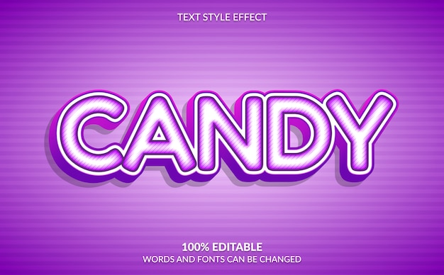Editable text effect, sweet purple candy text style