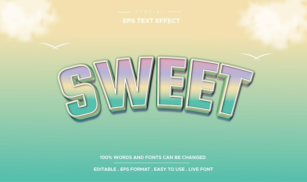 Editable text effect sweet style