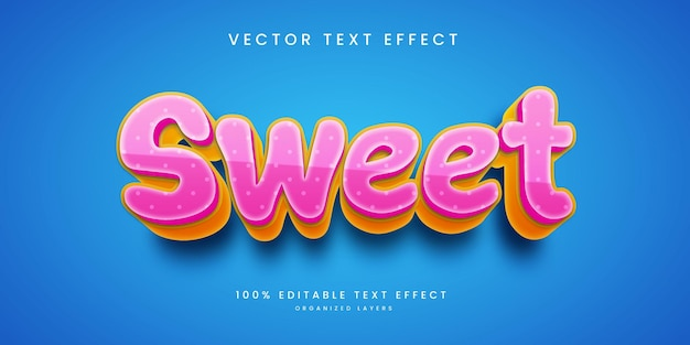 Editable text effect in sweet style