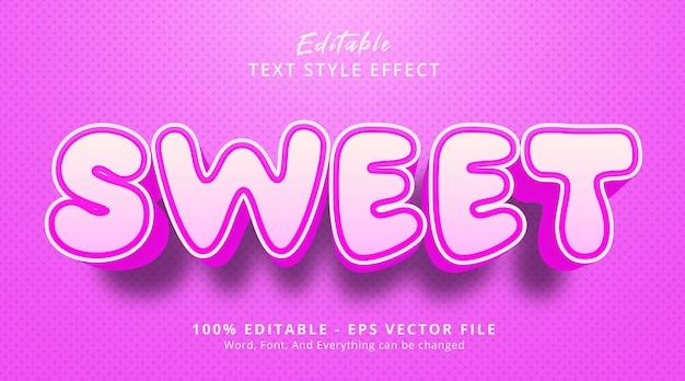편집 가능한 텍스트 효과, 멋진 스타일의 핑크 색상에 달콤한 텍스트