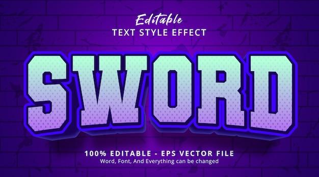 Редактируемый текстовый эффект, текст меча в стиле заголовка плаката