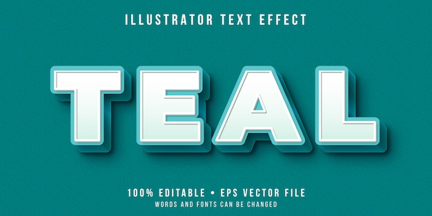 Editable text effect - teal color style