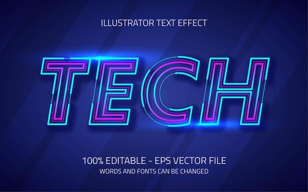 Редактируемый текстовый эффект в стиле tech