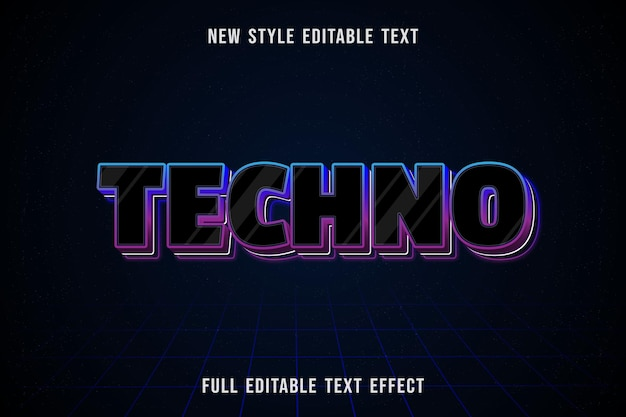 Editable text effect techno color black and blue purple