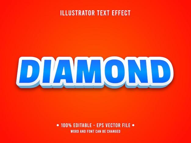 Editable text effect template blue casino diamond style