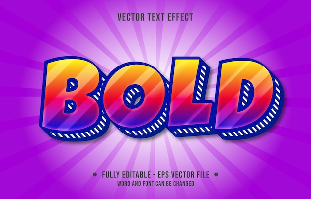 Editable text effect template bold purple and orange gradient color modern style