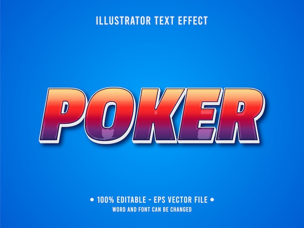 Редактируемый текстовый эффект шаблон классический покер стиль казино