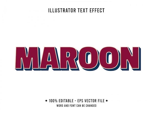Редактируемый текстовый эффект шаблон темно красный темно-бордовый стиль