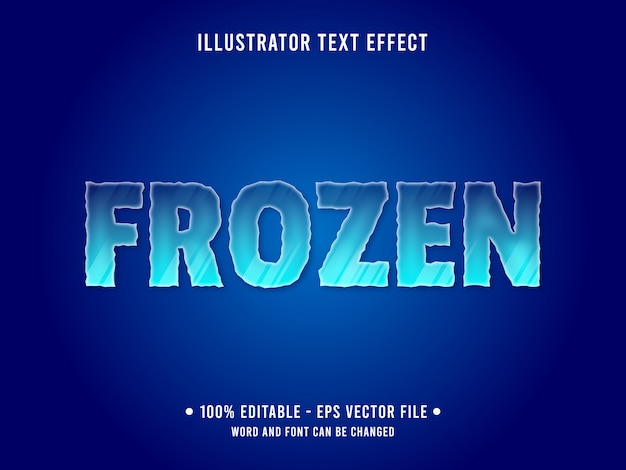 Editable text effect template frozen ice style