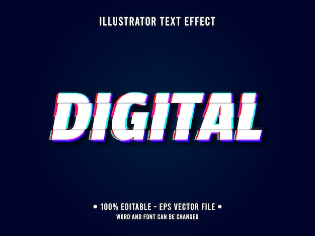 Редактируемый текстовый эффект шаблон глюк цифровой стиль