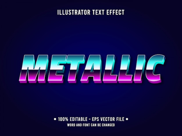 Editable text effect template gradient purple metallic style