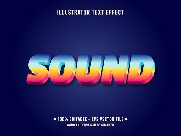 Редактируемый текстовый эффект шаблон градиент закат звуковой стиль