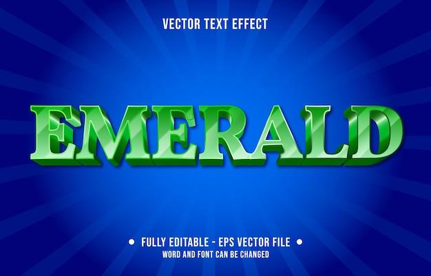 Редактируемый текстовый эффект шаблона зеленый изумрудный градиент цвета в современном стиле