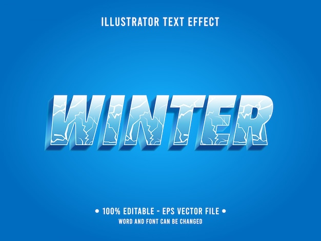 Editable text effect template ice crack winter style