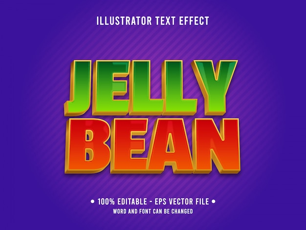 Editable text effect template jelly bean food style