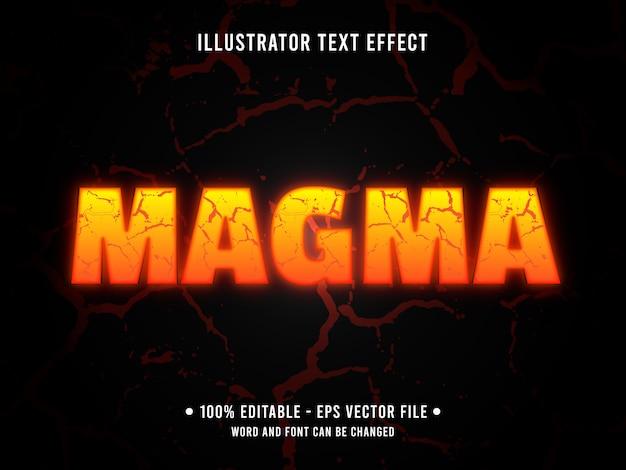 Редактируемый текстовый эффект шаблон оранжевая магма лава стиль