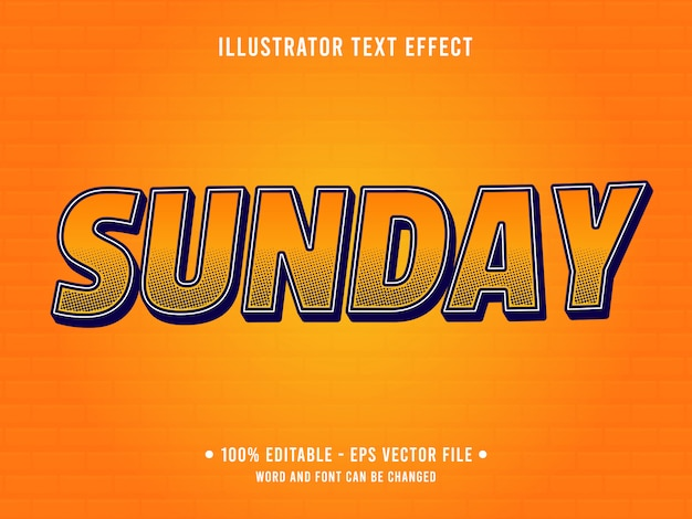 Editable text effect template orange sunday pop style