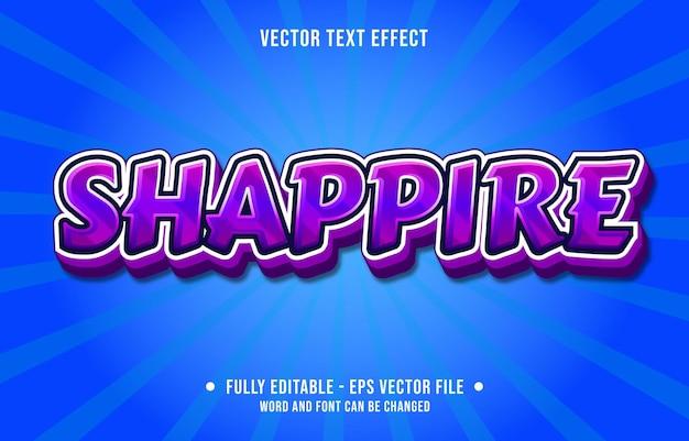 Editable text effect template purple sapphire gradient color modern style