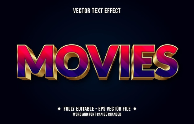 Editable text effect template red gradient movies award style