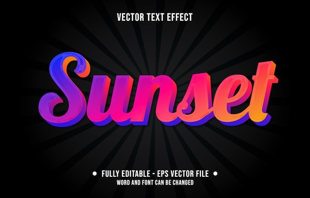 Editable text effect template red sunset style