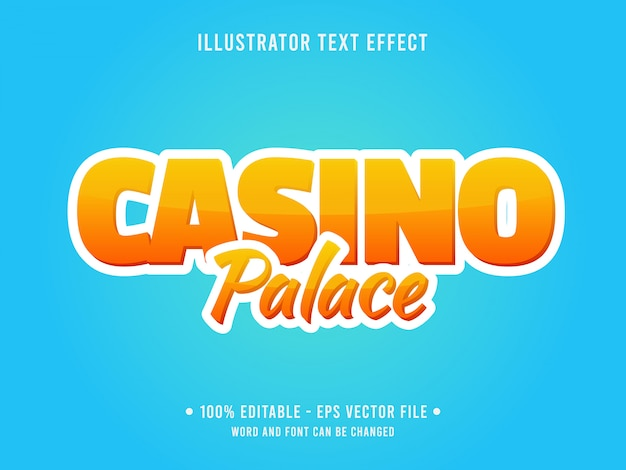 Editable text effect template yellow casino style
