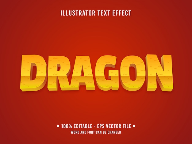 Editable text effect template yellow dragon scale texture style