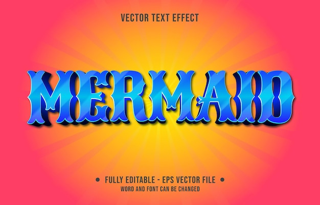 編集可能なテキスト効果テンプレート青い人魚のグラデーションカラーモダンなスタイル