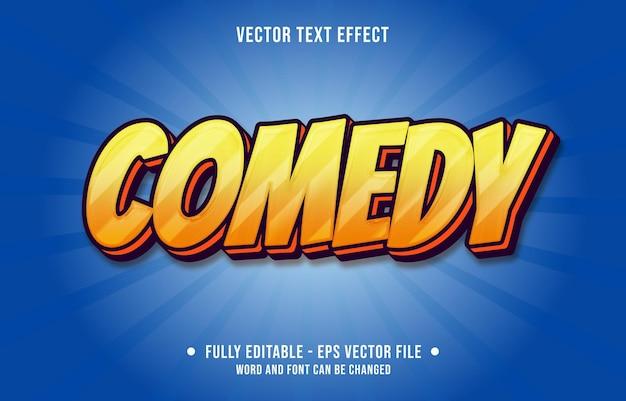 편집 가능한 텍스트 효과 템플릿 코미디 오렌지 그라디언트 색상 현대적인 스타일