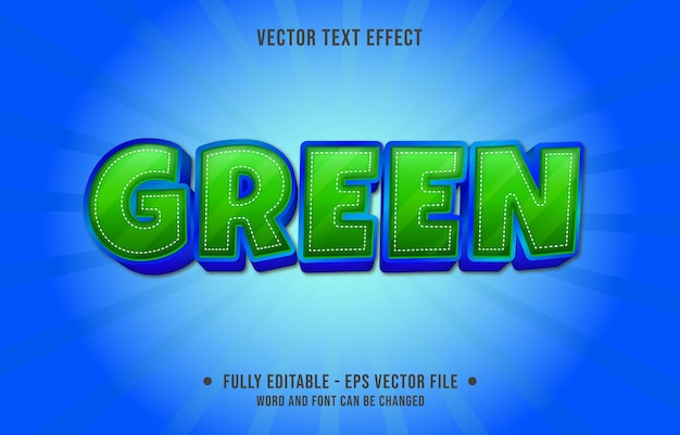 Editable text effect templates green gradient color modern style